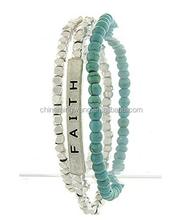 2015 fashion tri- layer religious faith beaded turquoise bracelet jewelry manufactures