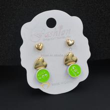china fashion jewelry sets wholesal gold heart huggie earring stud