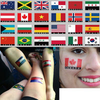 2015 Hot Sale Non-toxic Customized Water Transfer Body country flag temporary tattoo sticker