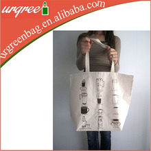 waxed wholesale canvas cotton tote bag for supermarket
