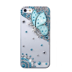 Fashion Girl Mobile Phone Case for iPhone 5 Beautiful Butterfly Rhinestone Case