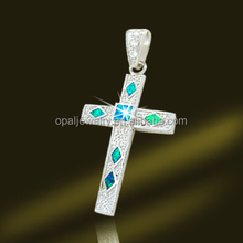 OEM Welcomed Top Quality Australia Fire Opal Platinum Plated 925 Silver Ankh pendants