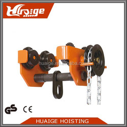 High quality hand pulley block foldable hand trolley chain hoist trolley