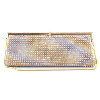 Graceful Golden Ladies Evening Crystal Clutch Pouch Evening Bag