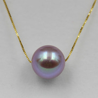 top quality purple pearl pendant mounting, 18K gold fittings