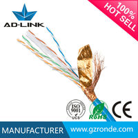 100% Fluke pass shielded twisted pairs solid bare copper 23awg/24awg cat6 SFTP cable