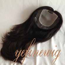 High Quality Mongolian Hair Full Handtied Women Human Hair Topper Wig