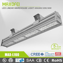 Meanwell Driver CE Rohs UL certificate 5 years warranty linear led light,nichia led chip led linear bay lighting with UL,SAA DLC