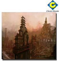 High building 3D canvas abstract art painting themes