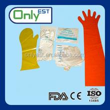 Pet care colorful veterinary disposable plastic PE long arm glove