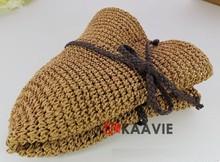 roll brim natural folding raffia straw hat