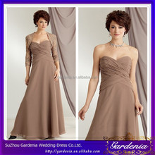 Elegant Simple A-line Sweetheart Neck Zipper Back Pleat Floor Length Brown Chiffon Mother of the Bride Dress with Lace Bolero