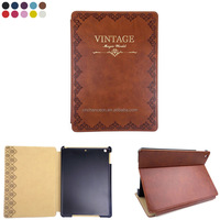 Gold Stamping Retro Style PU Leather Flip Case Tablet PC Case Cover For Ipad5 Ipad Air CO-LTC-318