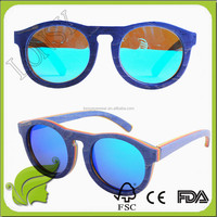 China Manufacturer Fashion Color Elegant Cat Eye Large Round Fake Skate Wood Sunglasses Vintage Wholesale