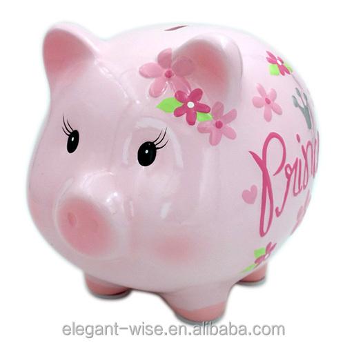 Wholesale Pink Custom 15 5 14 5 17 8 Ceramic Piggy Bank
