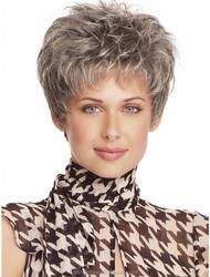 YILU Western Lady's Short 100% Kanekalon Grey Curly Hair Wig