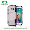 Hybrid transparent 2 in 1 dual layer TPU PC shockproof cell phone case for samsung galaxy s6 with stand kickstand