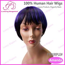 Luxury Elegance Purple Highlight Short Human Hair Wigs For Bald Women Wholesale In China