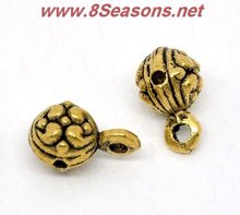 Gold Tone Round Pendants / Bail Beads 12x7mm