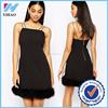 clothing manufacturer latest women sexy dress with faux fur Trim slim body dress
