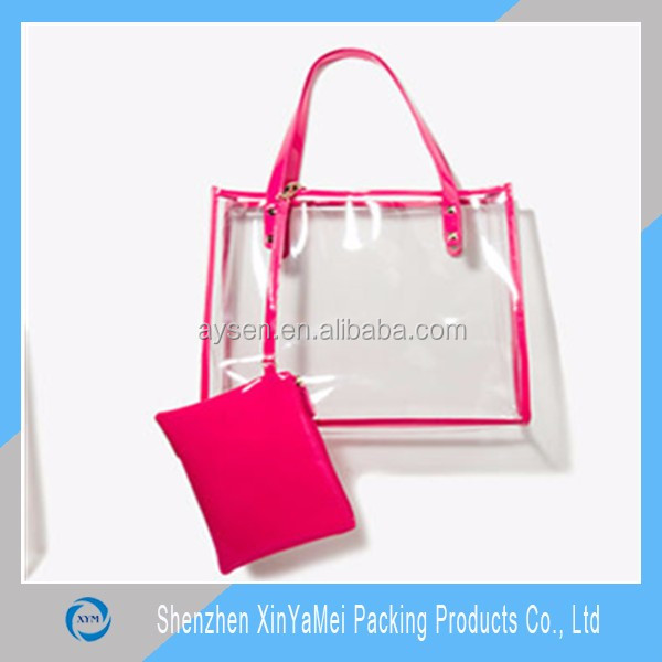 New fashion Design Clear PVC beach bag with cosmetic bag