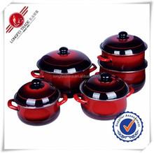 2015 Hot Sale High Quality Glass Lid Enamel Kitchenware/Enamel Cookware