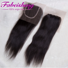 "4""x4"" middle parting cheap lace closure brazilian virgin hair swiss lace silk top lace closure"