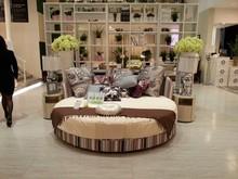 Round modern fabric bed design