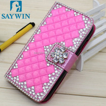 cell phone rhinestone wallet card slot leather case for iphone 6