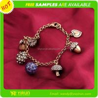 2015 Alibaba wholesale factory accessories gold link chain rhinestone crystal handmade heart pendant bracelet