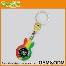 Custom guitar shaped metal keychain with Jamaica tourist name