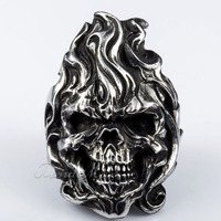 Trendsmax 52mm Gothic Rock N' Roll Black Silver Tone Fire Angry Skull Ring Mens Boys 316L Stainless Steel Ring