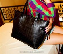 2015Fashion black skull tote bag for woman pu leather handbag