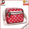 Oilcloth Polka Dots Small Messenger Cross Body Satchel Shoulder Bag Zipper Red