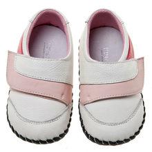 Bb-a3103 nuevo estilo de cuero littlebluelamb del arco iris de suela suave zapatos de bebé