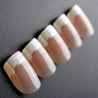 French with silvery line artificial finger nail tips