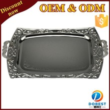stainless steel silver plated serving tray with metal handles for hotel T361