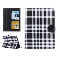 Color Matching Plaid Pattern Leather Flip Smart Case Cover for iPad Air 2 with Card Slots