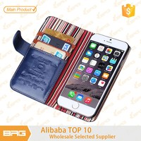 BRG Manufacture wallet leather cover for iphone 6 plus, for apple iphone 6 plus 5.5inch wallet leather cover
