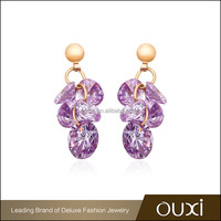 OUXI factory prices small cute purple zircon indian 18k gold earrings designs for girls
