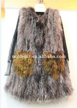 Silver Fox Fur Coat Elegant O-neck Real Fur Coat Women Winter Clothes