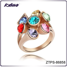 Luxurious rosed gold plated color changed charm ring jewelry