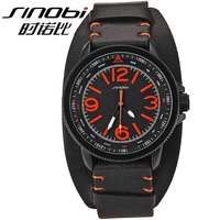 High quality wide leather band SINOBI Japan movt quartz wrist watch