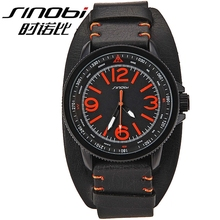 High quality wide leather band SINOBI Japan movt quartz wrist watch