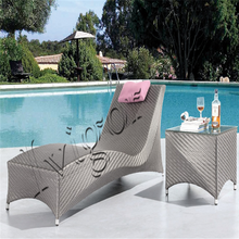 Leisure Patio Outdoor Chaise Sun Lounger with Side Table