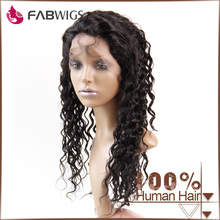 Fabwigs fashion new style deep wave #1 20inch full silk top human hair wig with baby hair