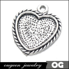 heart antique silver plated pendant tray bezel blank settings,fit 25mm heart glass cabochon