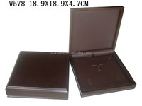Luxury Customized Wooden Jewelry Packaging Ring Earring Pendant Set Box with High Quality Leather W578