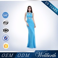 Beautiful Blue Illusion Floor-Length A-line Sexy Tight Maxi Dresses Long 2015