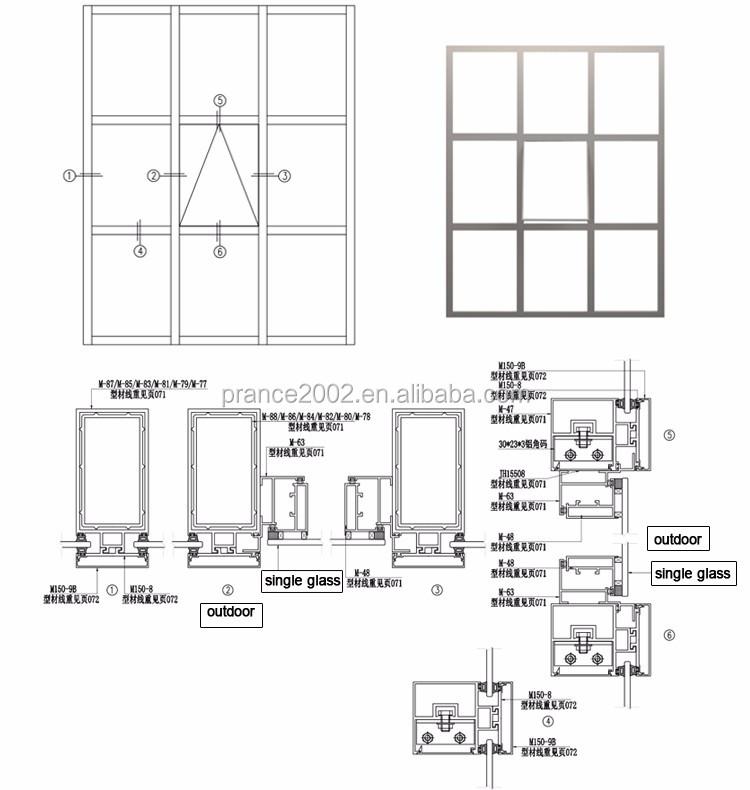 Le prix concurrentiel aluminium mur rideau en verre pour for Anodisation maison